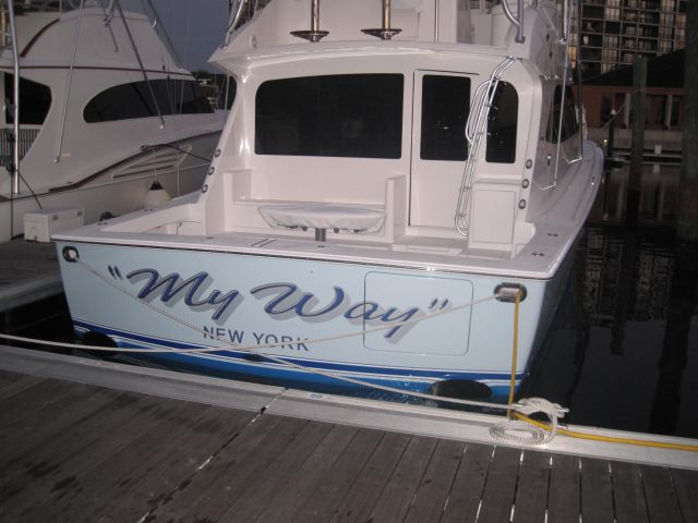 A 60Viking Sport Fishing Boat At This Marina Has The Name MY WAY Painted On Its Stern Francine And Wayne Their Turned South After Entering