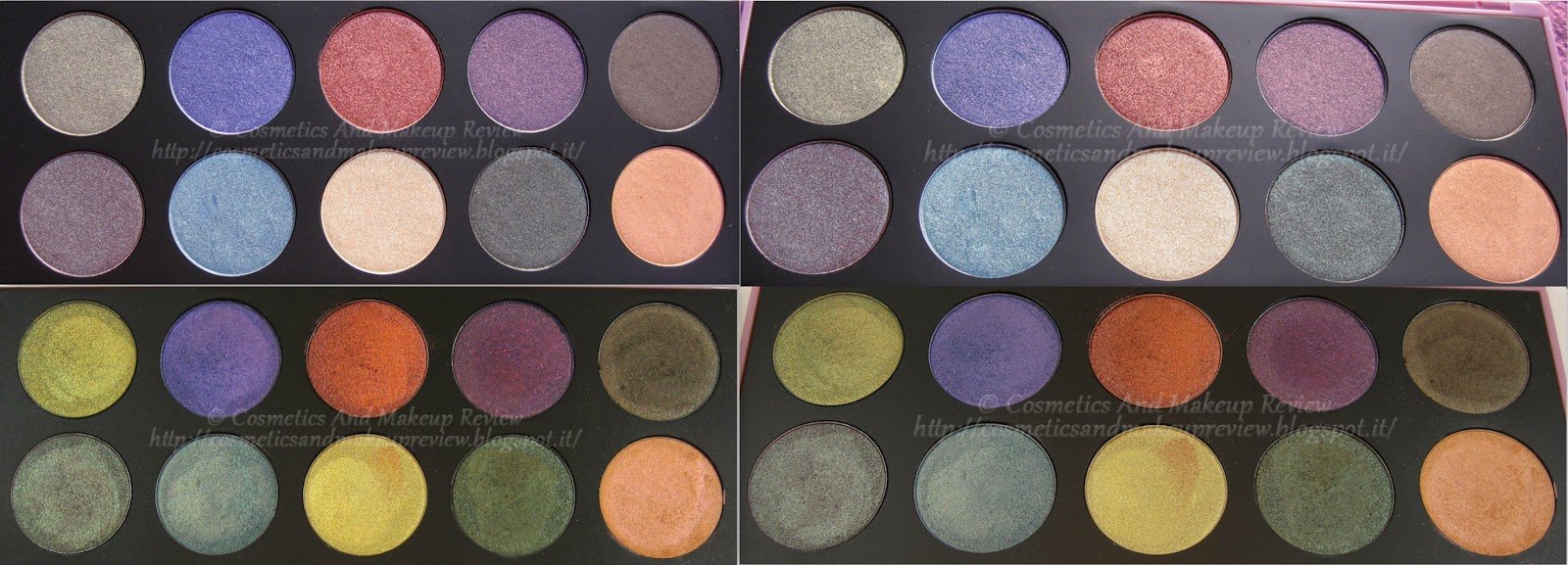 Neve Cosmetics - Palette Duochrome (2014) - cialde (sopra luce indiretta del sole, sotto luce artificiale neutra)