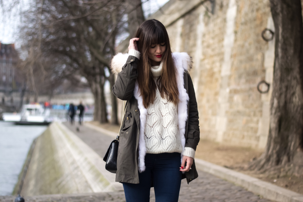 Streetstyle, Look, Lookbook, chic parisian style, how to wear a parka, fur, meet me in paree
