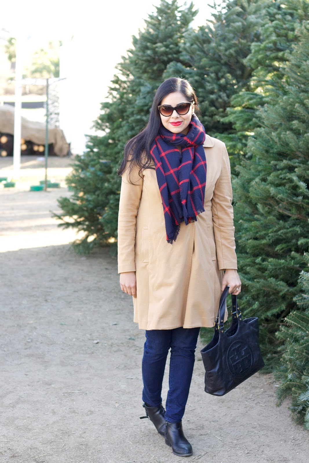Holiday Casual Look, Plaid Scarf, Merona plaid scarf, plaid scarf outfit, camel coat