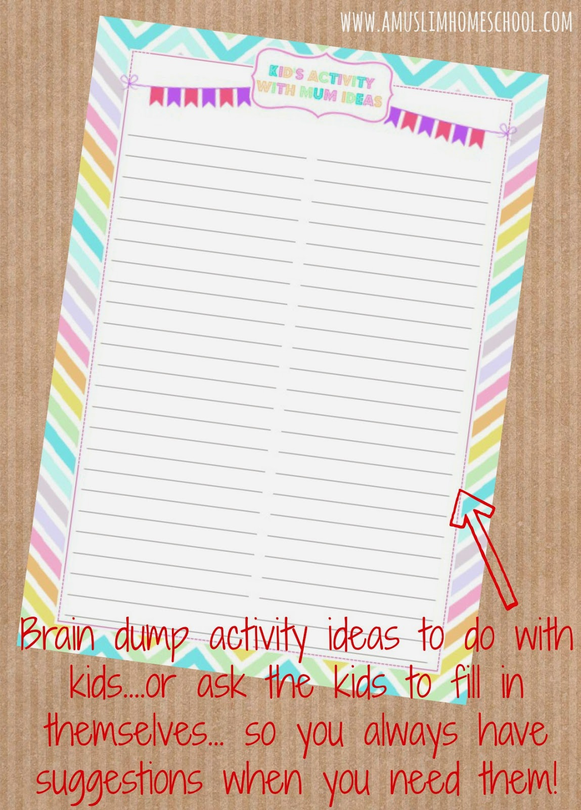 free kids activity planner printable