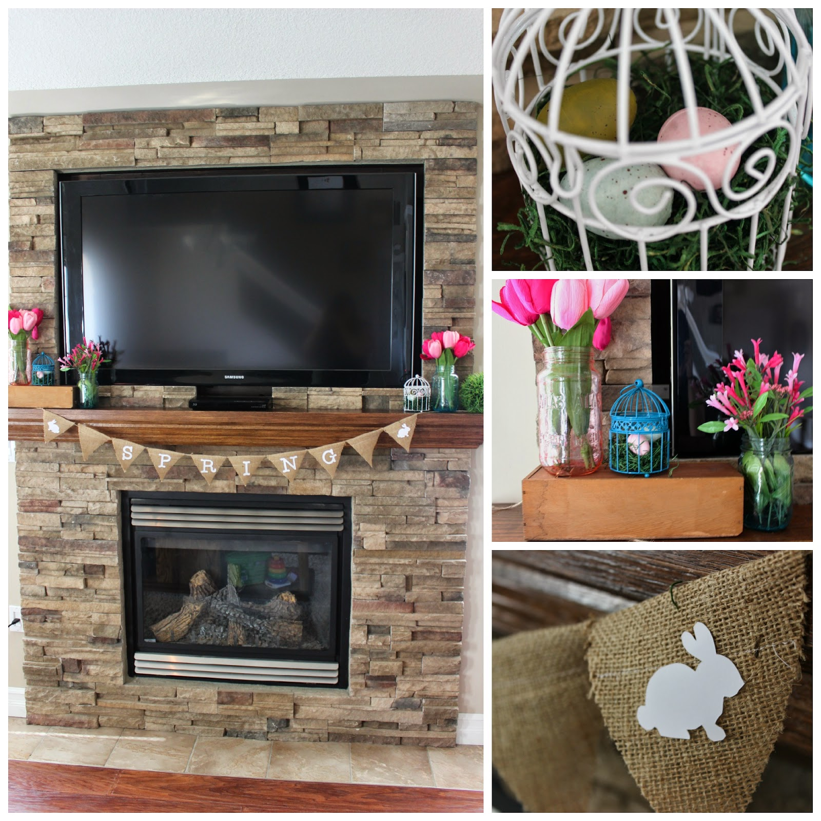 A beautifully decorated Spring mantle. Love this brick fireplace, beautifully decorated with bright Spring colours and florals.