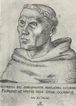 Luther with tonsure | Domínio público | Lucas Cranach, o Velho - Luther.de