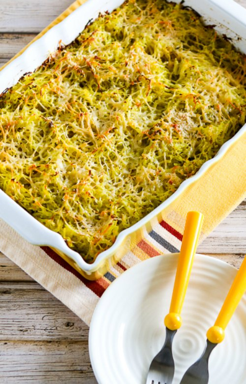 Twice-Baked Spaghetti Squash with Pesto and Parmesan found on KalynsKitchen.com