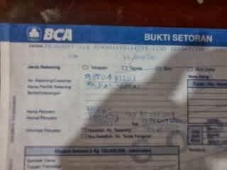 Contoh bukti Setor langsung di BANK BCA