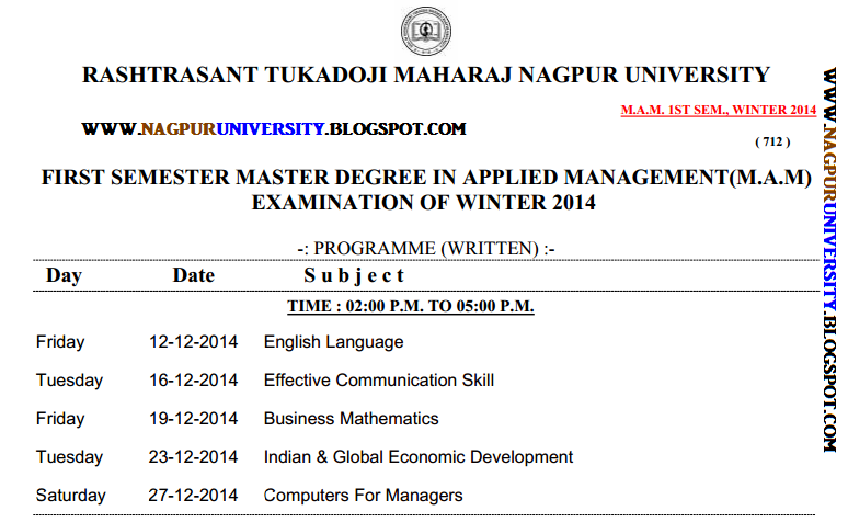 RTMNU TIME TABLE M.A.M 1ST SEM WINTER 2014