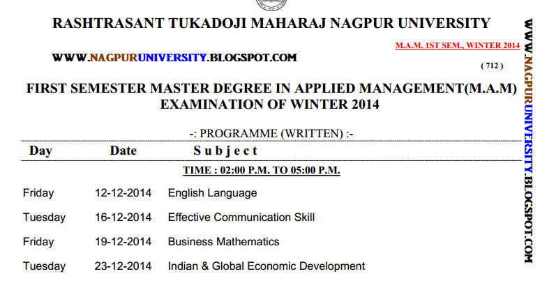 Rtmnu time table m a m 1st sem winter 2014 for Rtmnu time table 4th sem