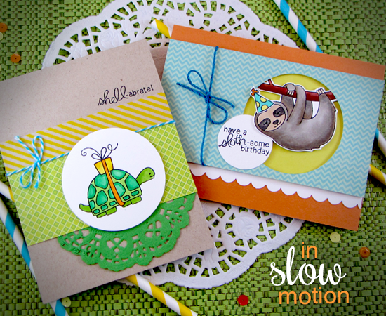 Slow Turtle and Sloth Birthday Cards by Jennifer Jackson | In Slow Motion Stamp set by Newton's Nook Designs