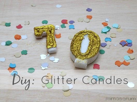Velas de cumpleaños con purpurina- Diy: Glitter Candles