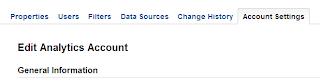 Google Analytics - Account Settings