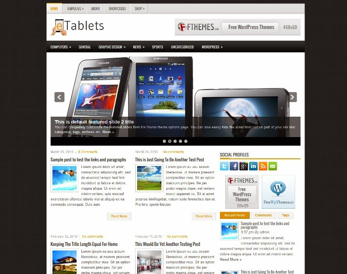 eTablets - Free WordPress Theme