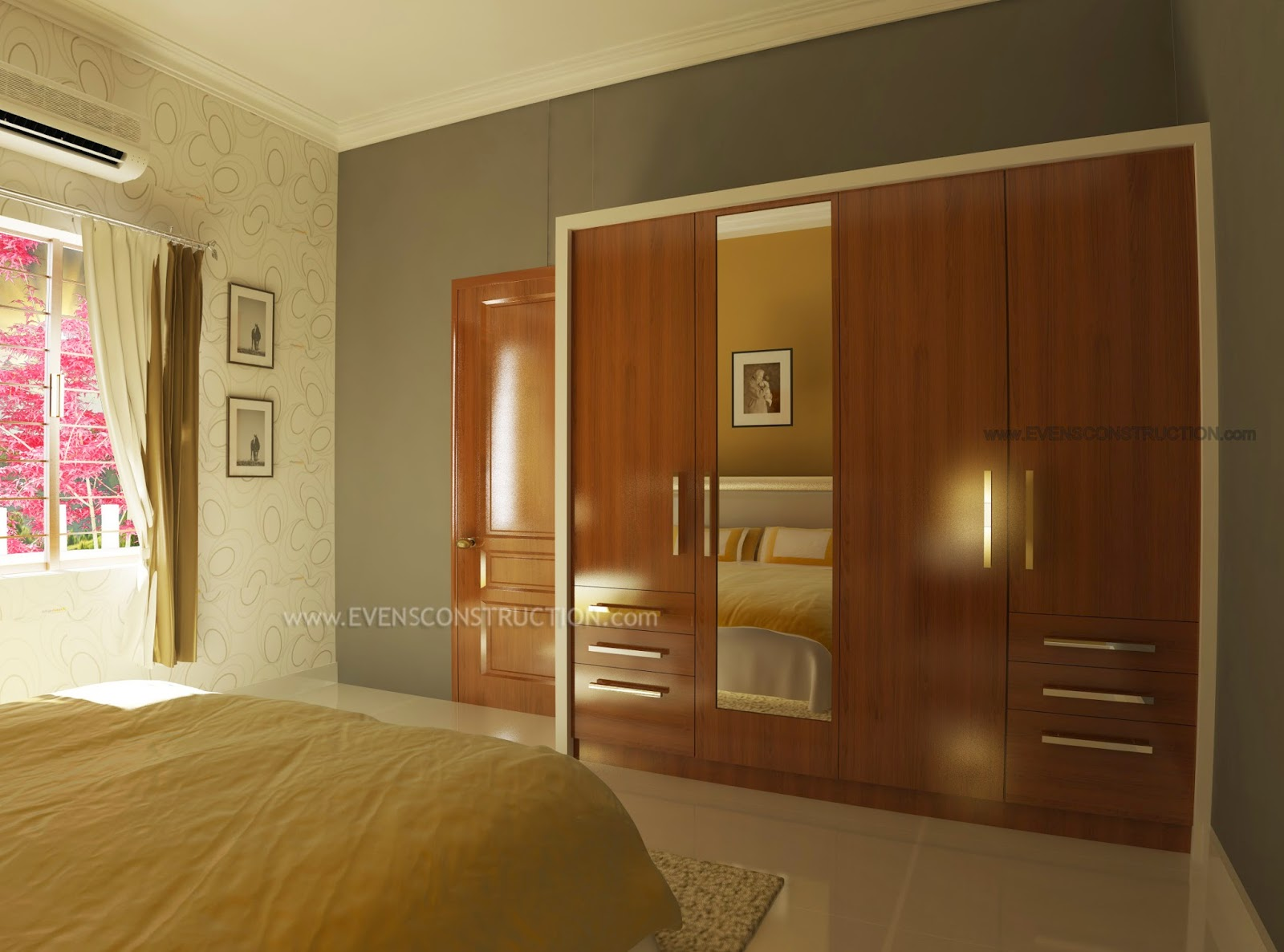 Evens construction pvt ltd wardrobe in master bedroom Wardrobe in master bedroom