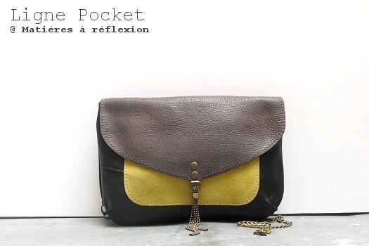 Petit sac cuir vintage Matières à réflexion : la Pochette jaune-taupe Pocket