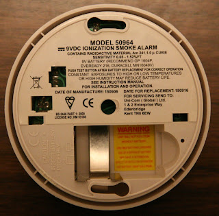 The back of my smoke alarm showing that it is a ionization alarm that contains a small amount of radioactive Americium 241