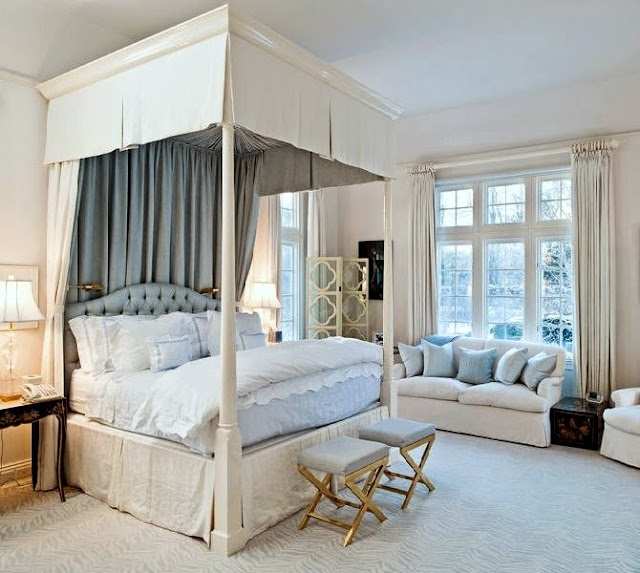 beautiful design large traditional master bedroom fabric canopy bed blue and whit gold accents