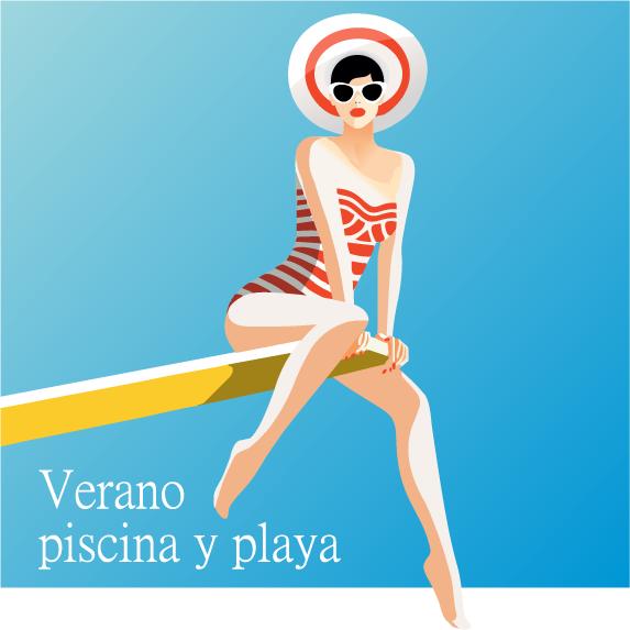 Chica de verano y piscina - Vector