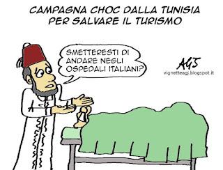 Tunisia, terrorismo, turismo, satira vignetta
