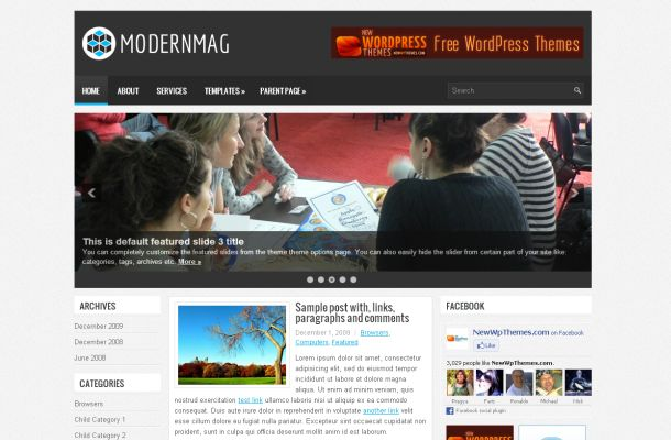 Free Modern Magazine Black Grey Wordpress Theme