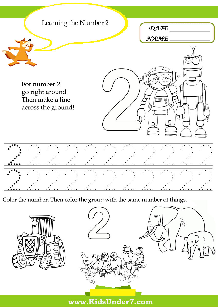 Number 2 Worksheet for Preschool http://www.kidsunder7.com/2012/01/free-printable-kindergarten-number.html