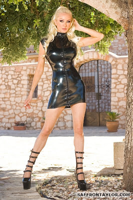 Saffron Taylor, Tight Black Latex Dress and Fetish Heels