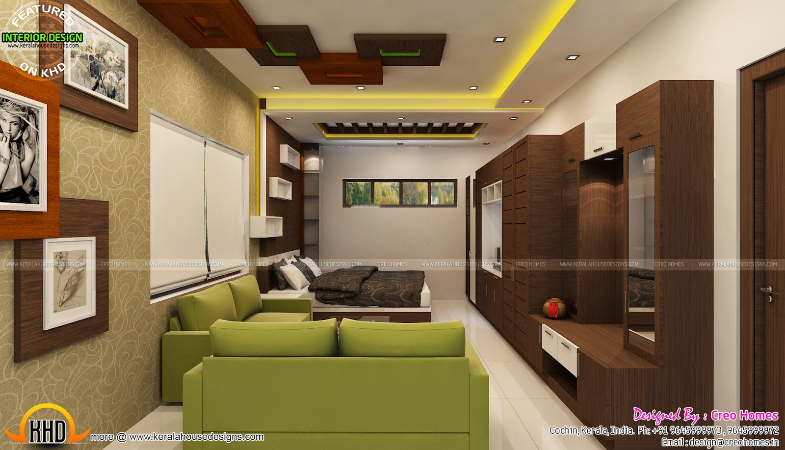 Living prayer kitchen interiors kerala home design and for Kerala home living room designs