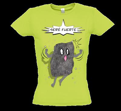 """Camiseta manga corta para mujer """"Como una roca"""" color verde"""