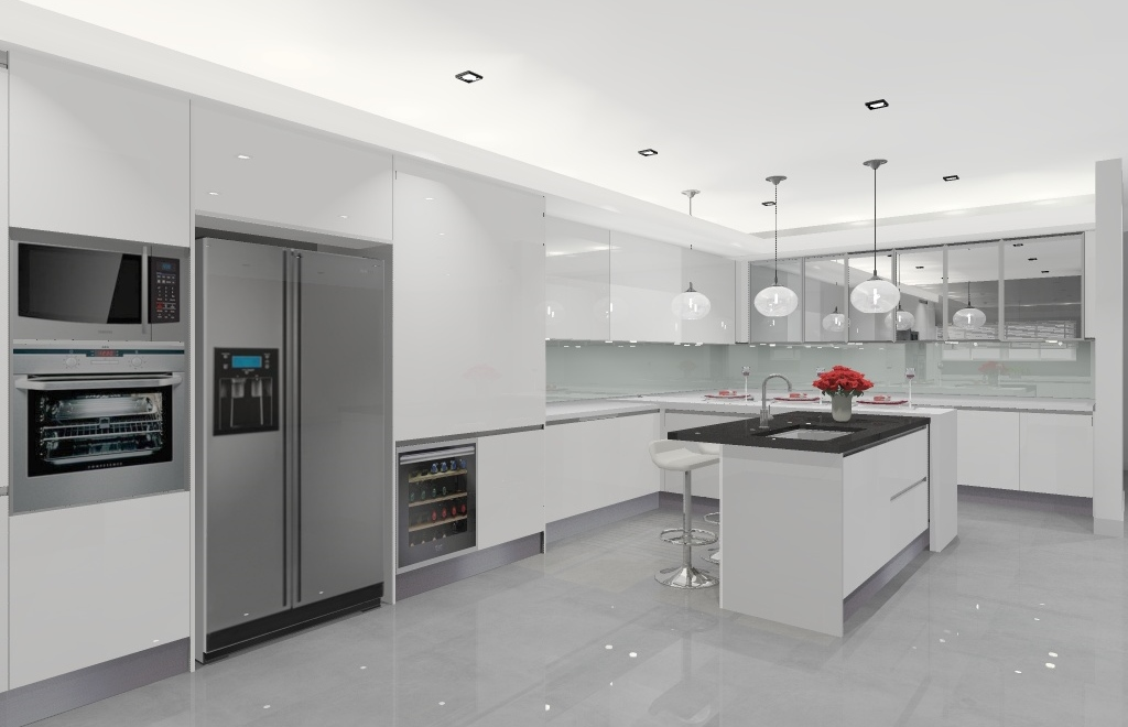 The Clean Lines Of The Kitchen Design Represents The Concept Very Well;  High Gloss White Kitchen Cabinets, Peninsular And Counter
