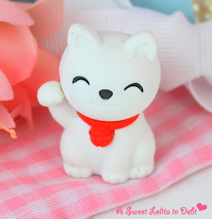 cat eraser, cute kitty eraser, cute eraser, white cat eraser