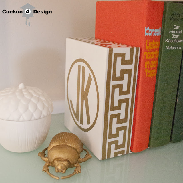 DIY gold sharpie bookends made by cuckoo4design