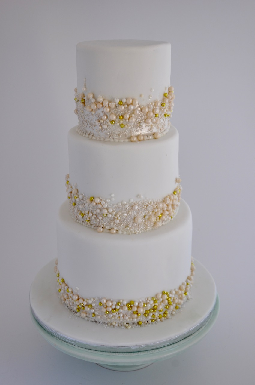 rozanne's cakes: three tier white and gold pearls cake