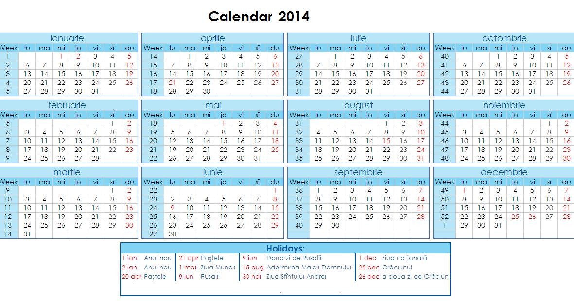 Calendar 2014 pe saptamani pentru desktop