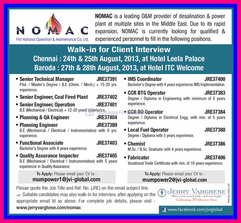Vacancies For Nomac Middle East Gulf Jobs For Malayalees