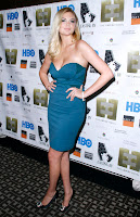 Kate Upton wearing a strapless blue dress