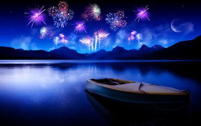 Fuegos artificiales al otro lado del lago - Fireworks