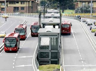 Transmilenio bus system in Bogota Colombia