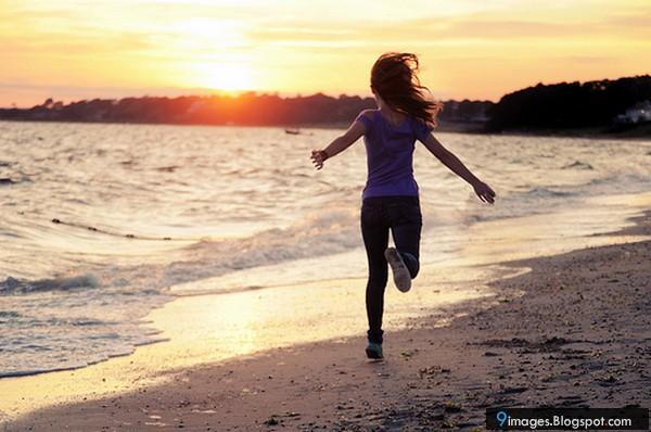 Sad, alone, girl, beach, running Girl Running On Beach
