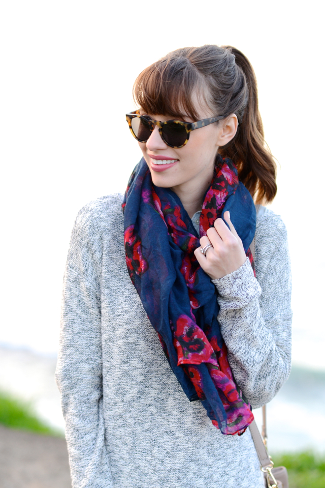 gray sweater floral scarf M Loves M @marmar