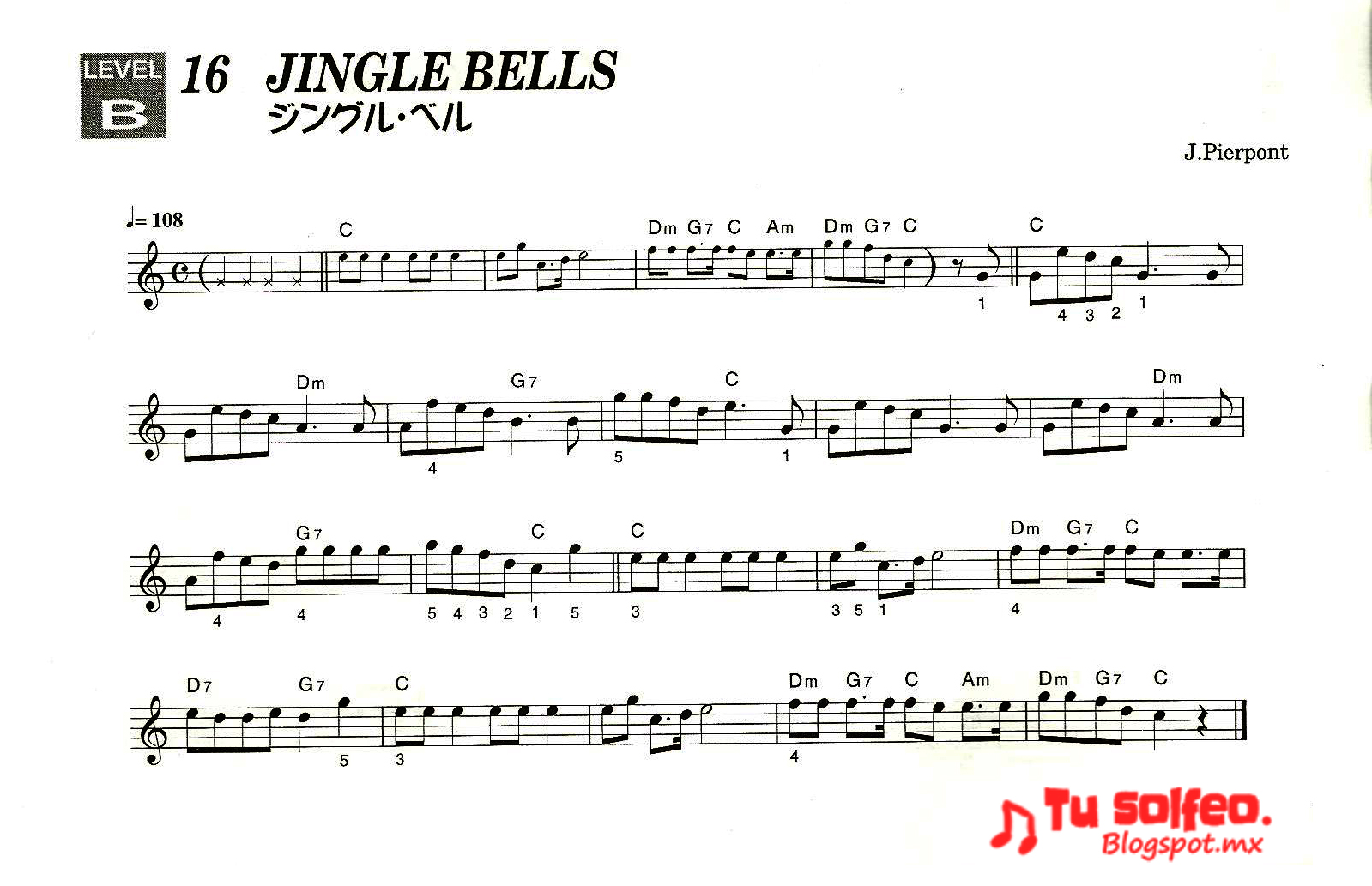 partitura navidad jingle bells
