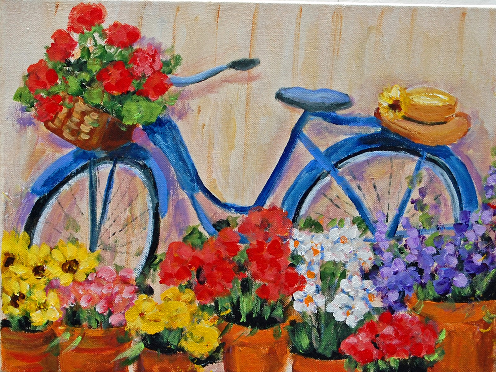 My painted garden painting my blue vintage bicycle for Bicycle painting near me