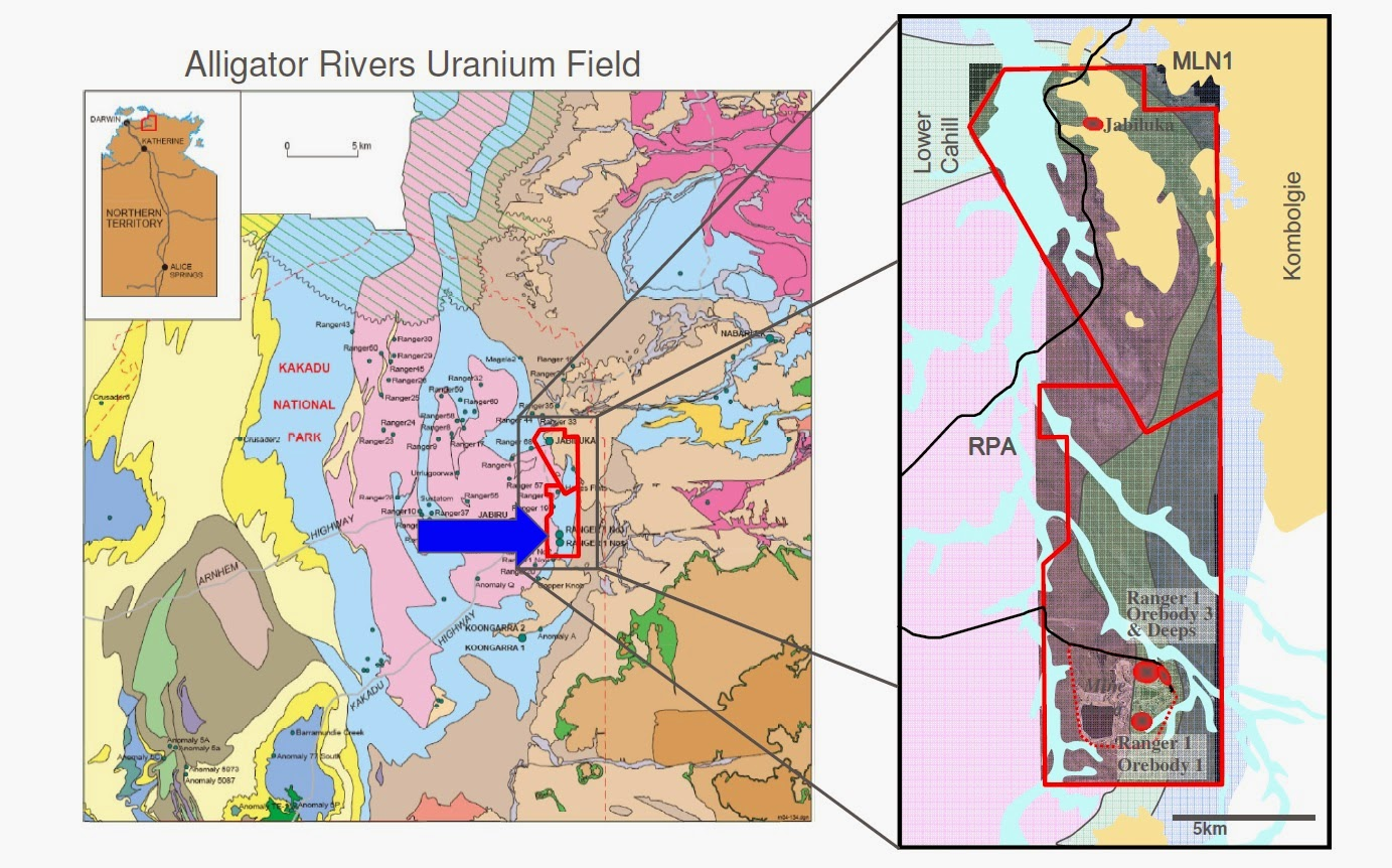 Geological map of The Ranger Uranium Mine.