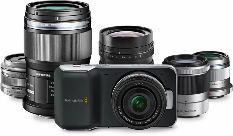 Blackmagic Pocket Cinema Camera and lenses.