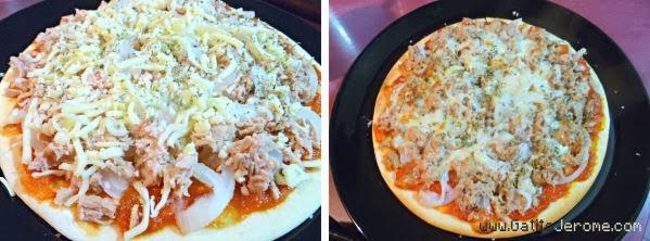 Pizza de atún, cebolla y mozzarella