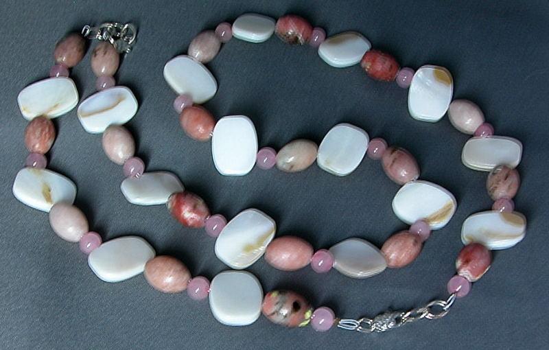 Pink Quartz, Pink Jasper, MOP Necklace and Bracelet