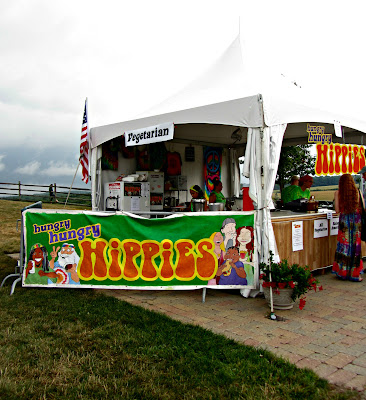 Photo of Hungry Hippies vegetarian food tent at Bethel Woods, NY