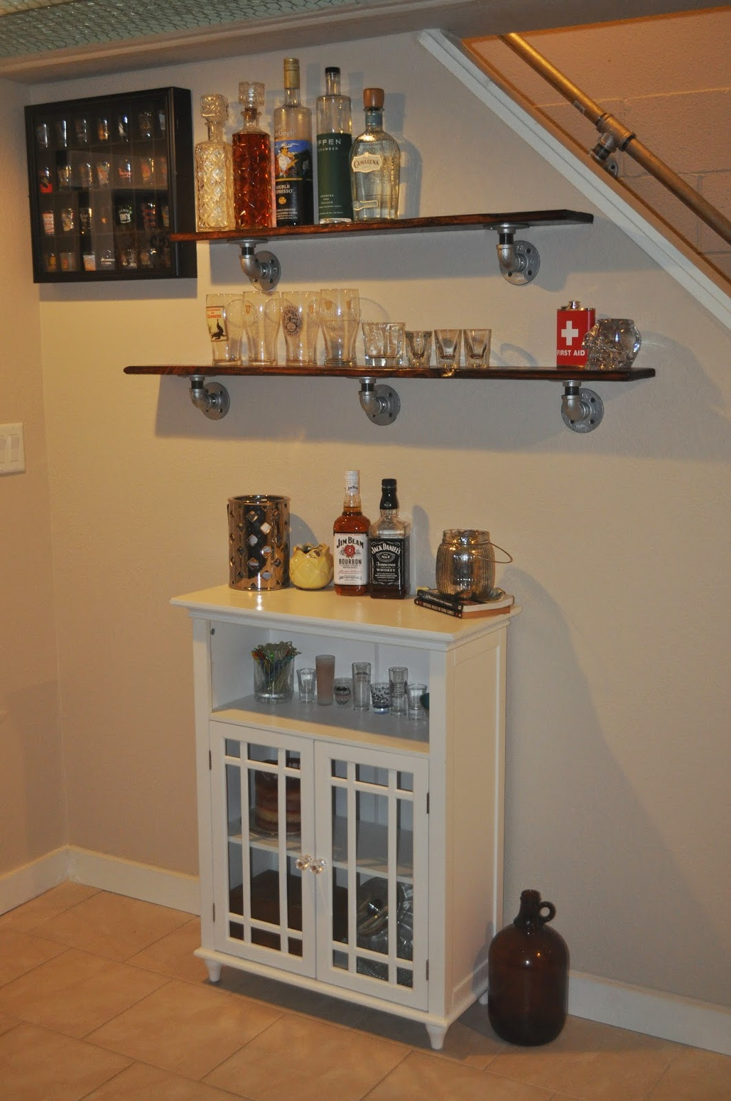 stress relief, diy, distressed, boards, basement, bar, basement bar, decor, diy shelving, shelving