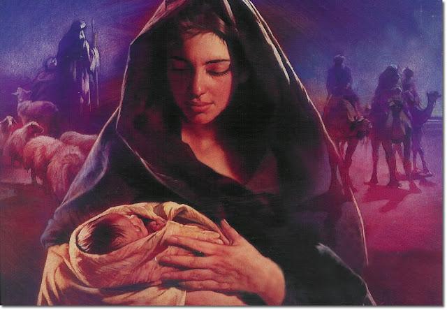 Maria com Jesus bebê no colo, Maria mãe de Jesus recém nascido