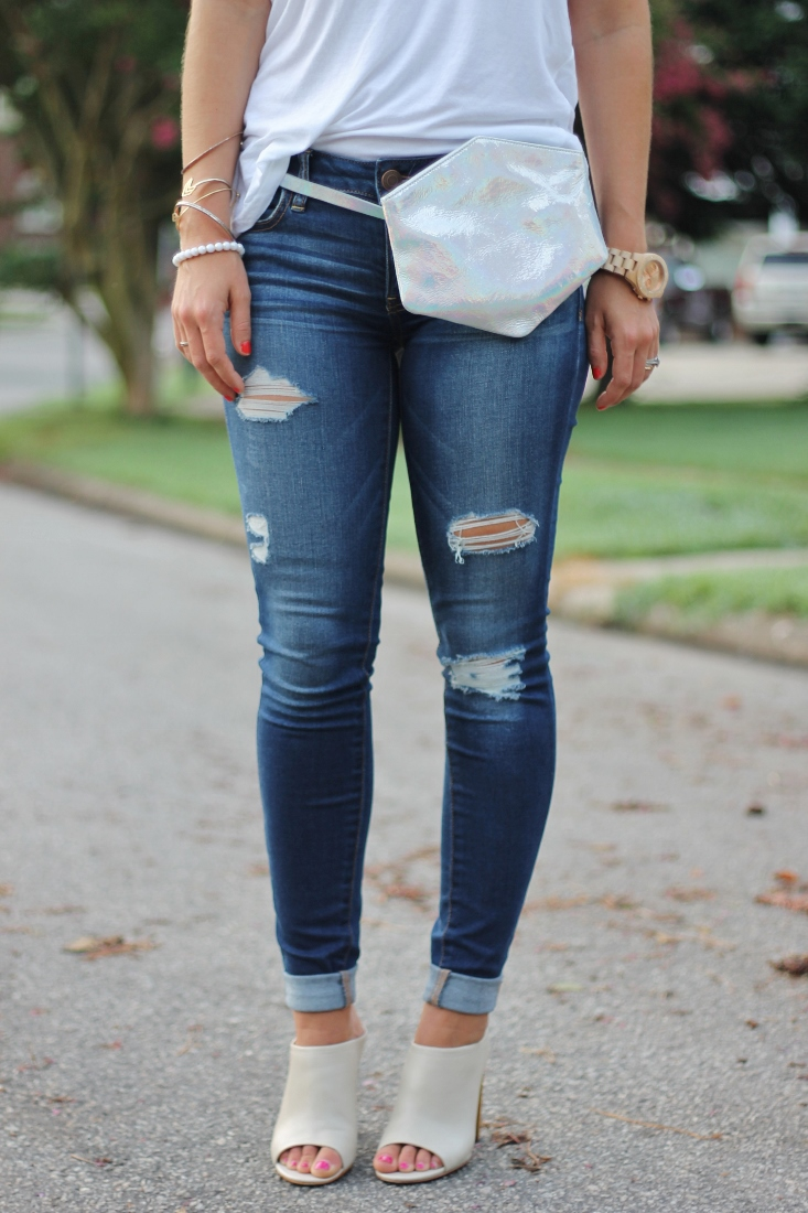 Distressed Skinny Jeans with Peep toe Mules