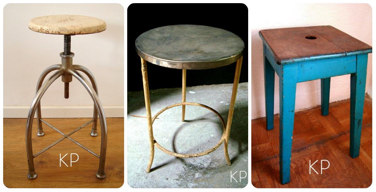 taburete vintage de medico industrial y de madera