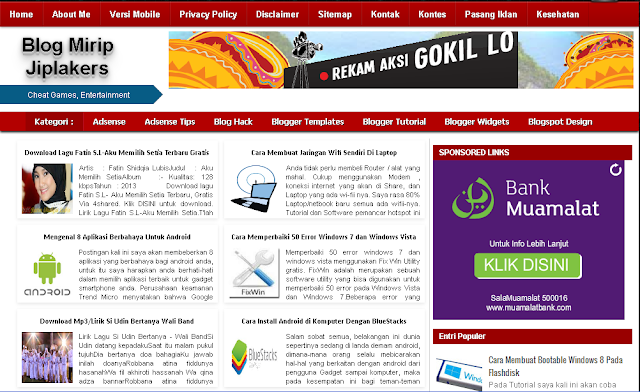 Template Blog Mirip Blog Jiplakers