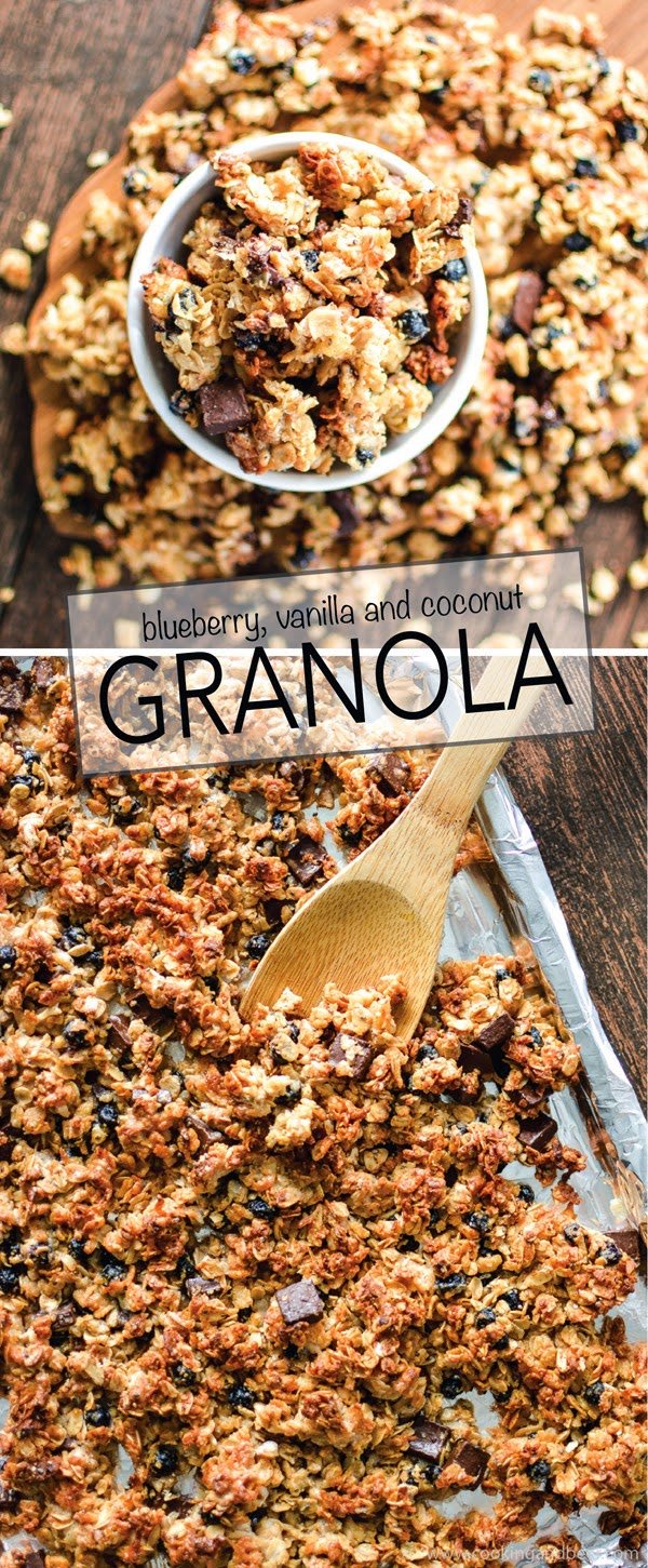 Recipe, granola, granola recipe, Cooking and Beer blog, Blueberry Vanilla Granola with Chocolate Chunks